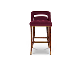 NAJ Bar Chair Contemporary Design by BRABBU is a velvet bar stool with back which will fulfill any interior decor.