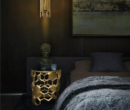 Dark and cozy bedroom design that looks like a wonderful cozy escape. Everything just pops against the rich, sultry walls, creating an intense space with luxurious golden accents given by SAKI Pendant