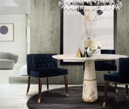 The velvet BOURBON dining chair makes up any refined ambience. This amazing dining rom set is just gorgeous.
