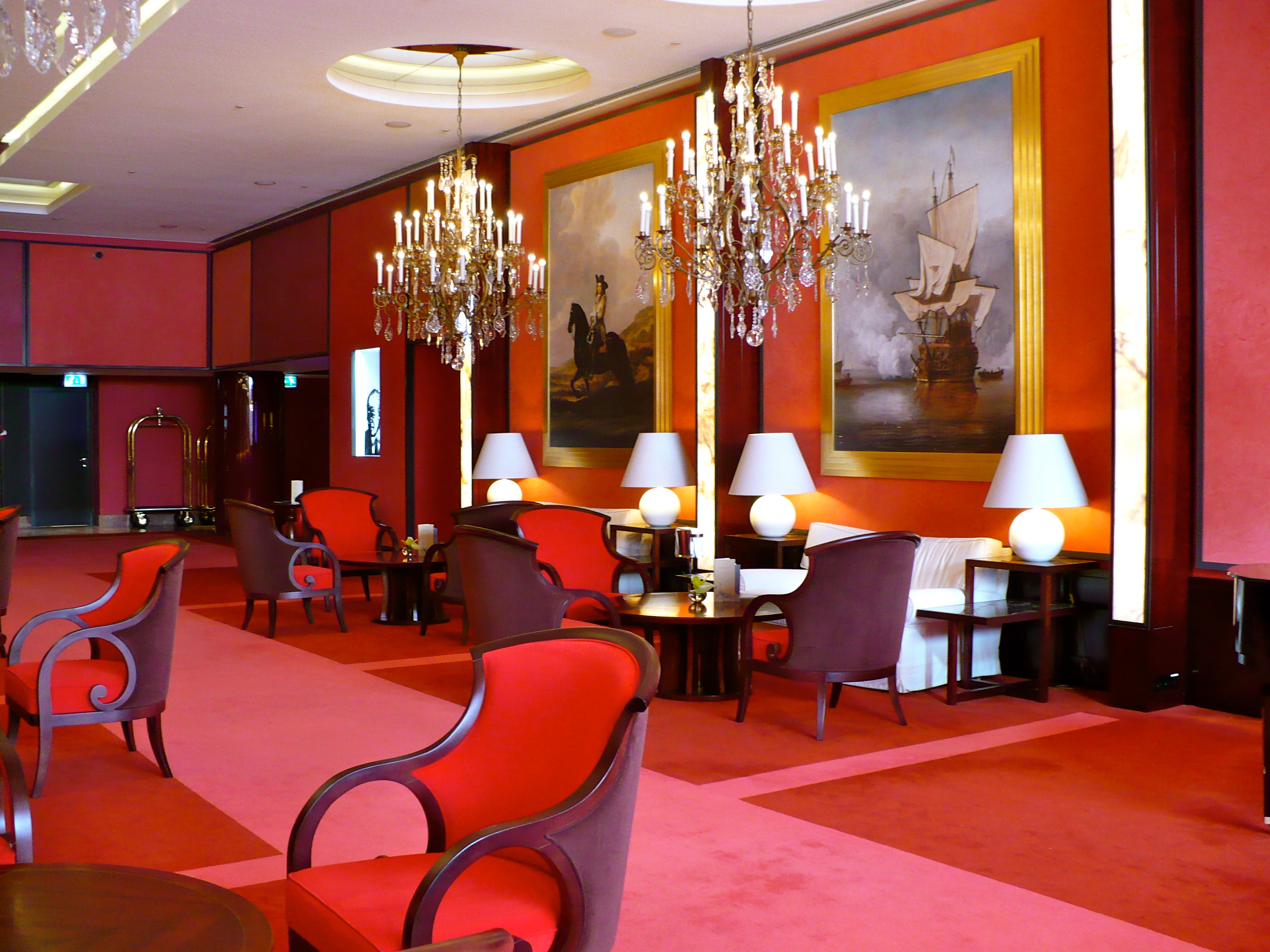 The plush red lobby stretches out into a lounge and culminates in a circular bar  Hotel L'Europe: The Heart of Amsterdam Hotel L'Europe: The Heart of Amsterdam Hotel Leurope Amsterdam 1