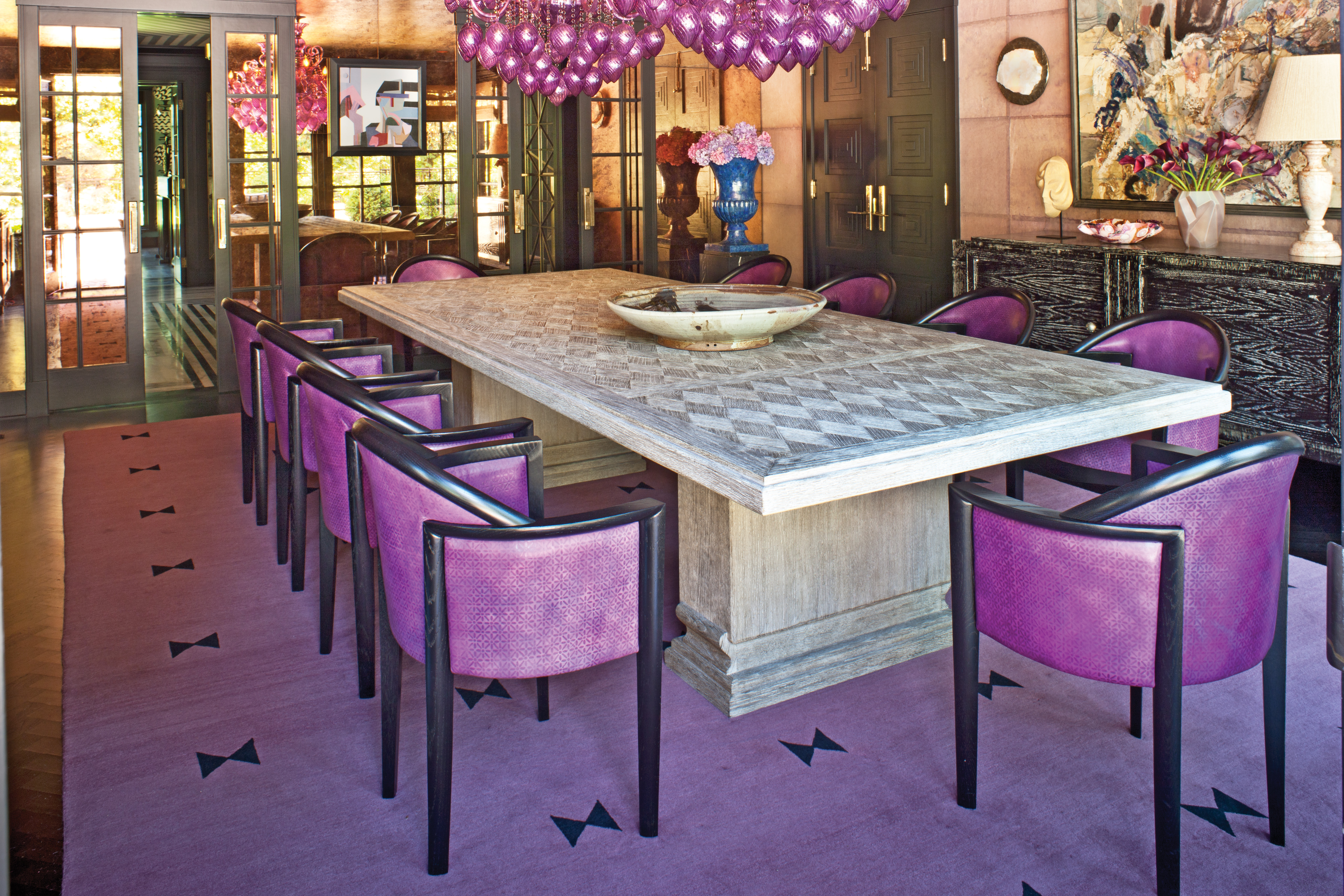 Celebrated and recognized by luxurious interiors reminiscent of worn world of Hollywood, Kelly Wearstler.