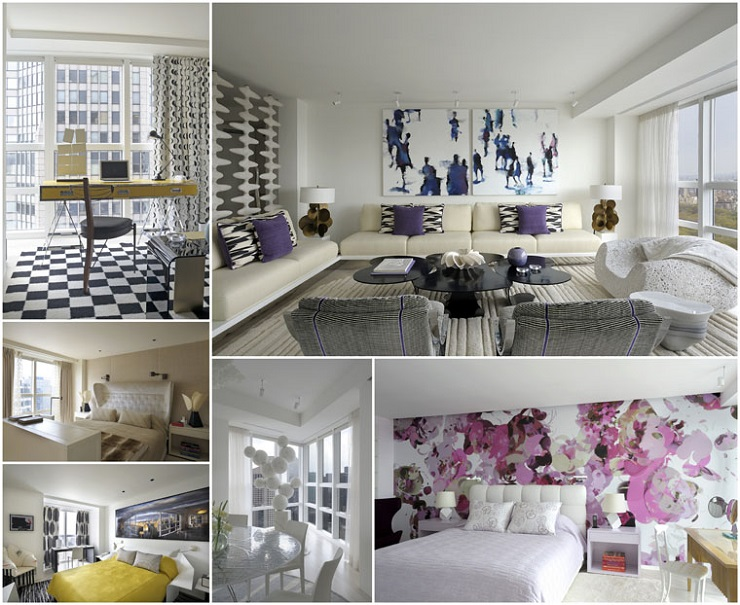 """""""This stunning luxury apartment has been designed by world renowned architect /designer Robert Couturier on the 59th floor of the Metropolitan Tower skyscraper, New York."""" Midtown Apartment by Robert Couturier Midtown Apartment by Robert Couturier New York Apartment 9 collage3"""