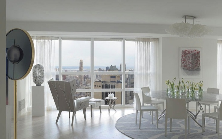 """""""This stunning luxury apartment has been designed by world renowned architect /designer Robert Couturier on the 59th floor of the Metropolitan Tower skyscraper, New York."""" Midtown Apartment by Robert Couturier Midtown Apartment by Robert Couturier image08"""