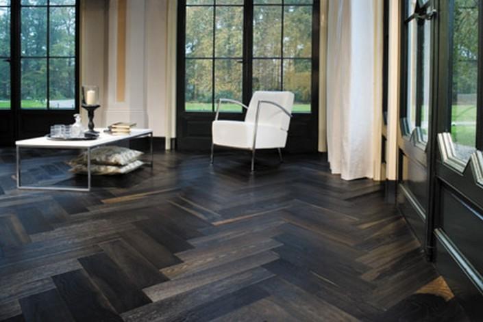 The Jazz Of Solid Wood Flooring Industry Parquet Herringbone Floor Dark