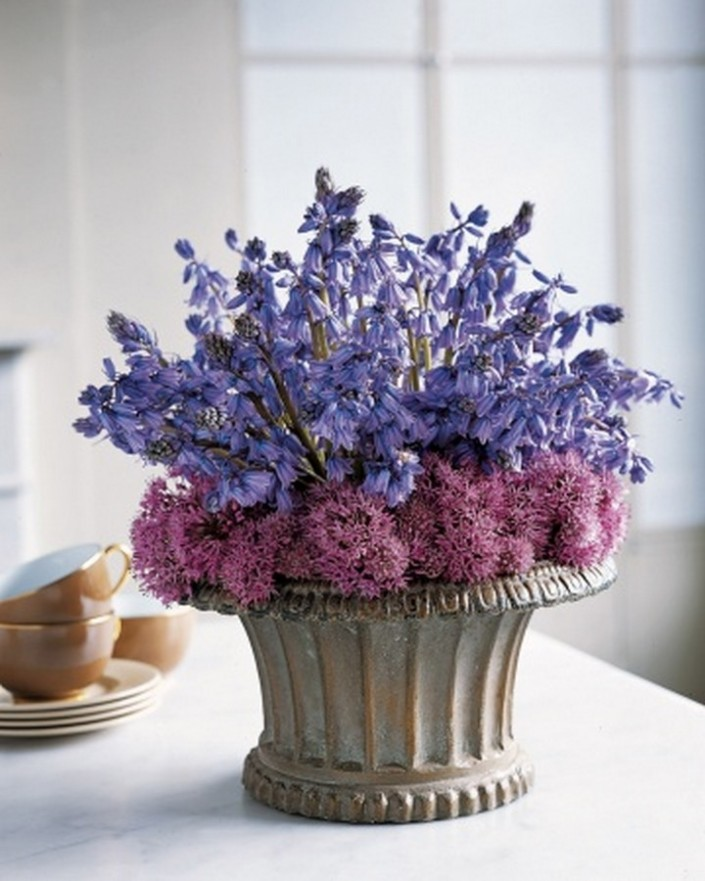 Ideas For Beautiful Spring Flower Arrangements Bluebell And Chive Arrangement