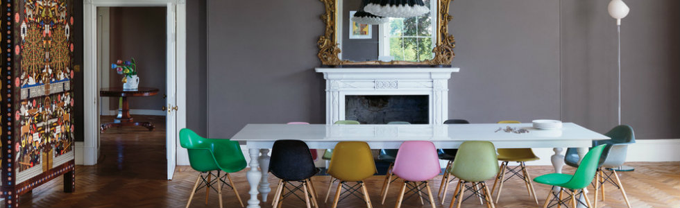 Rainbow Dining Room Ideas: trendy and bold armchairs for it