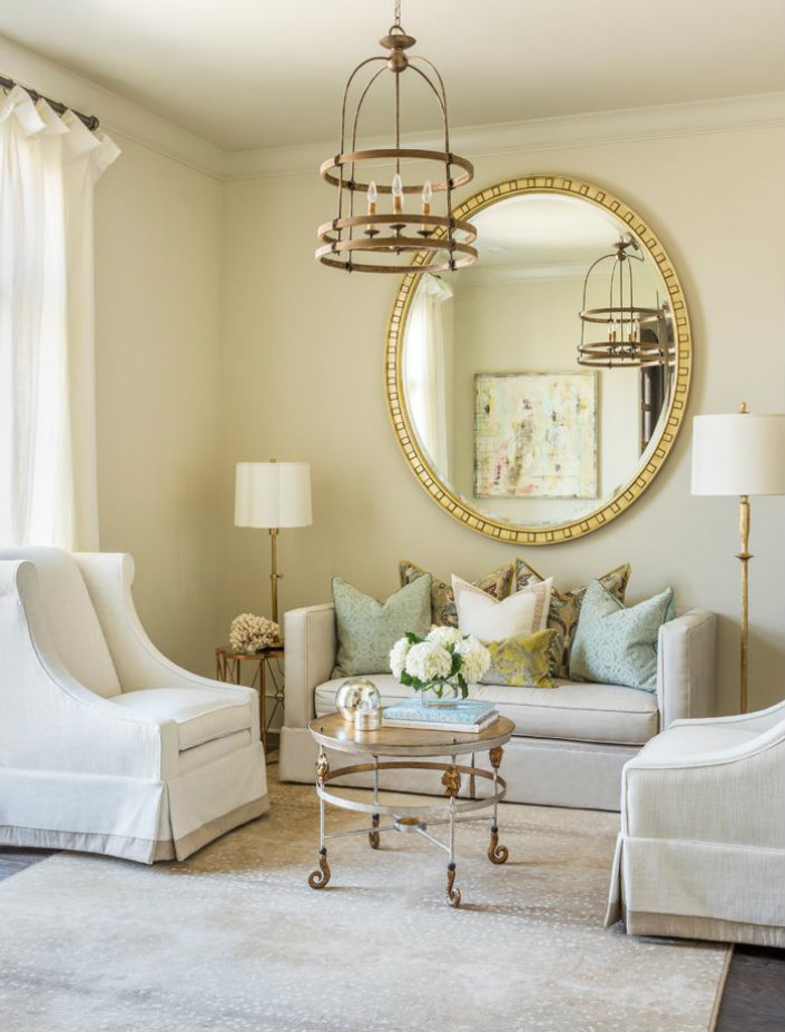 Large Round Living Room Mirrors Centerfieldbar. View In Gallery Sunburst
