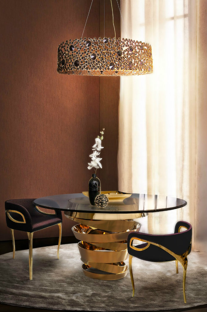 Contemporary Decor Ideas Match With Round Glass Dining Tables Intuition Dining Table Koket Brabbu Design Forces