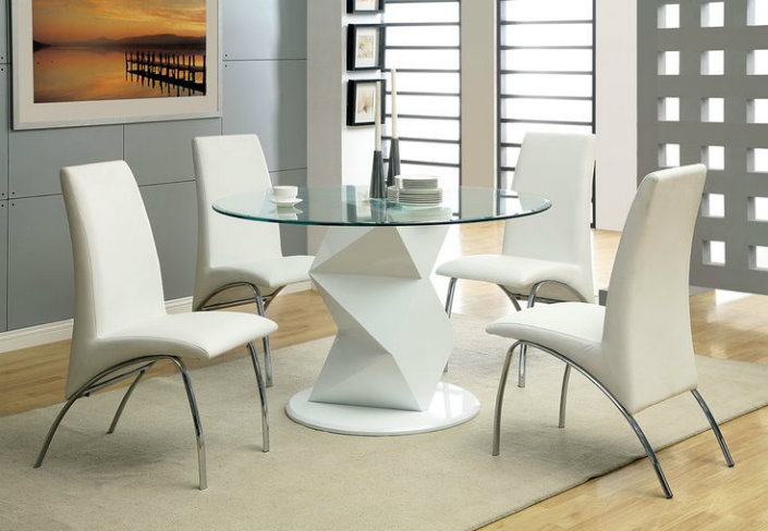 Modern decor ideas match with round top glass dining tables for 52 glass table top