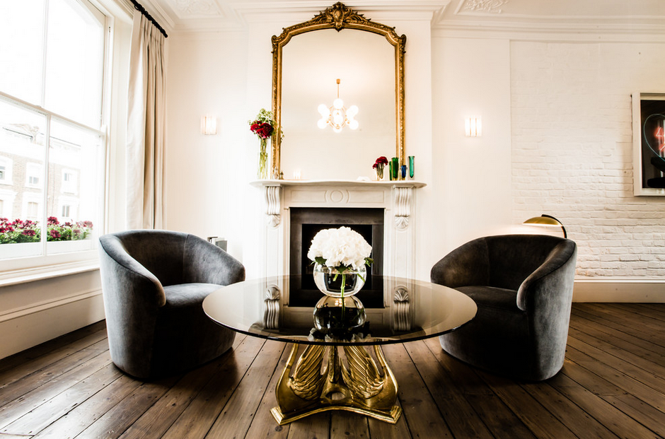 HOW TO DECORATE A BIG LIVING ROOM with (brass table)