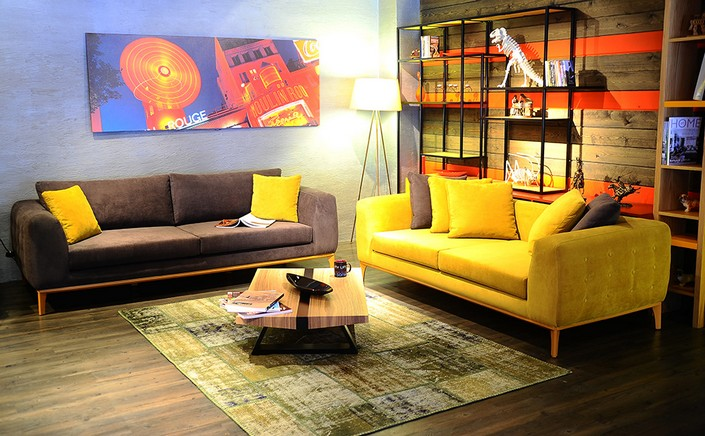 How To Decorate A Big Living Room With Yellow Contemporary Sofa