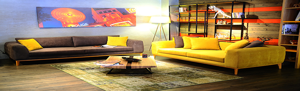 how to decorate a large living room with a yellow contemporary sofa