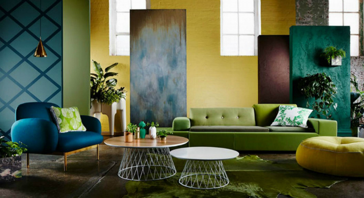 Colorful Modern Eclectic Lounge Interior Design Decorating With Cocktail Table Green Cowhide Rug Freestanding Decorative Wall As Room Divider Ideas Brabbu Forces