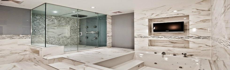 Modern home decor the marble bathroom brabbu design for Modern bathroom design blog