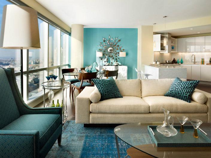 2018 Summer Trend Living Room, Turquoise Living Room