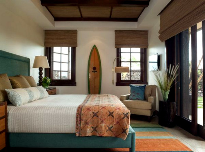 Beach Inspired Interior Décor Surf Elegant Tropical Bedroom With