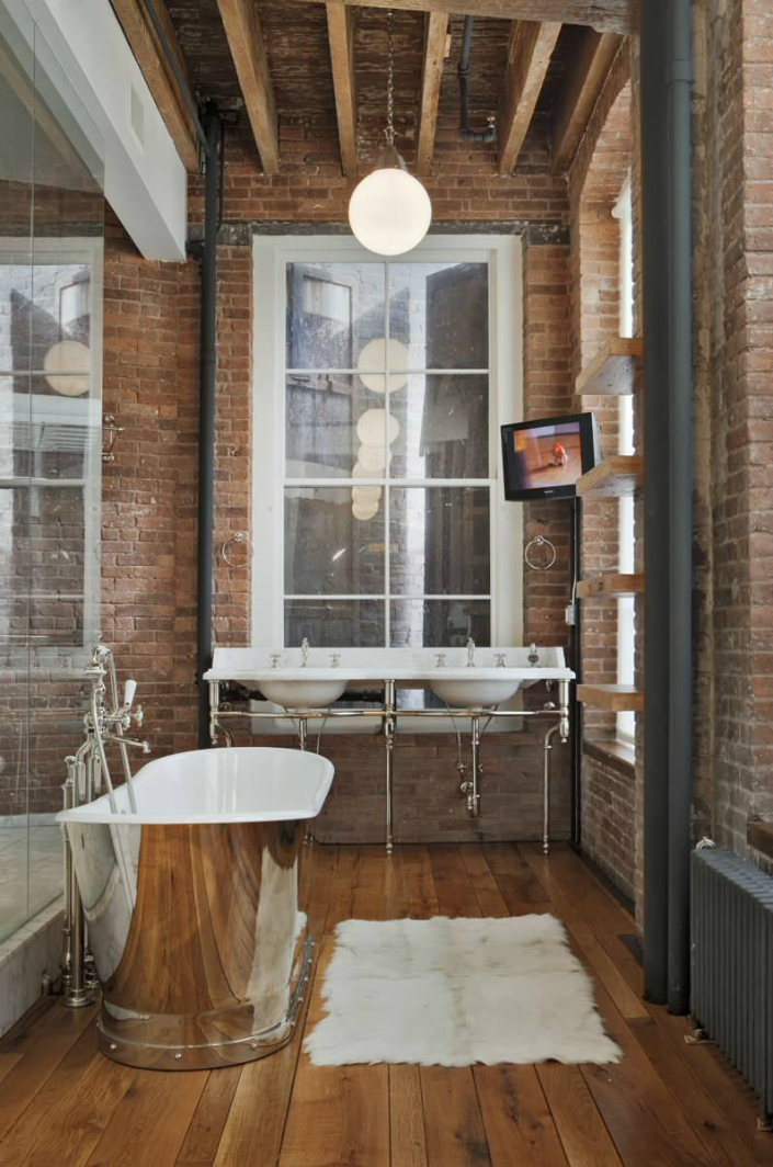 11 industrial style home Get an industrial style home by using exposed brick walls 111