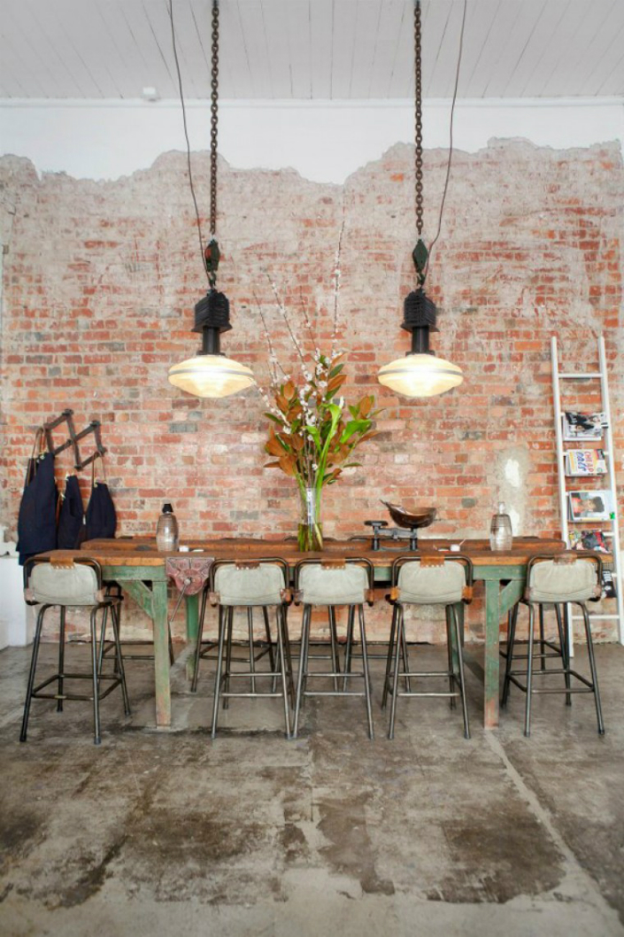 16 industrial style home Get an industrial style home by using exposed brick walls 16