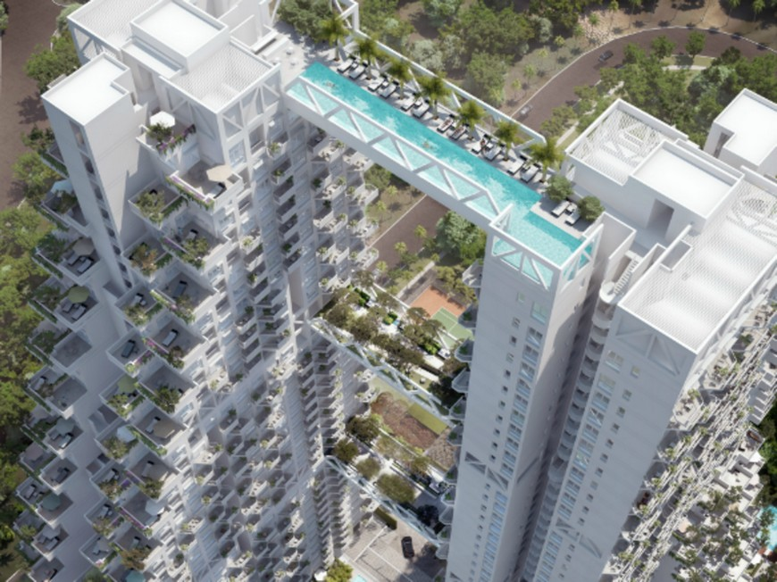 Modern Architecture: Fabulous Pool on Singapore's Sky  modern architecture Modern Architecture: Fabulous Pool on Singapore's Sky singapores newest residential building features sky bridges unbelieveable sky pool 01