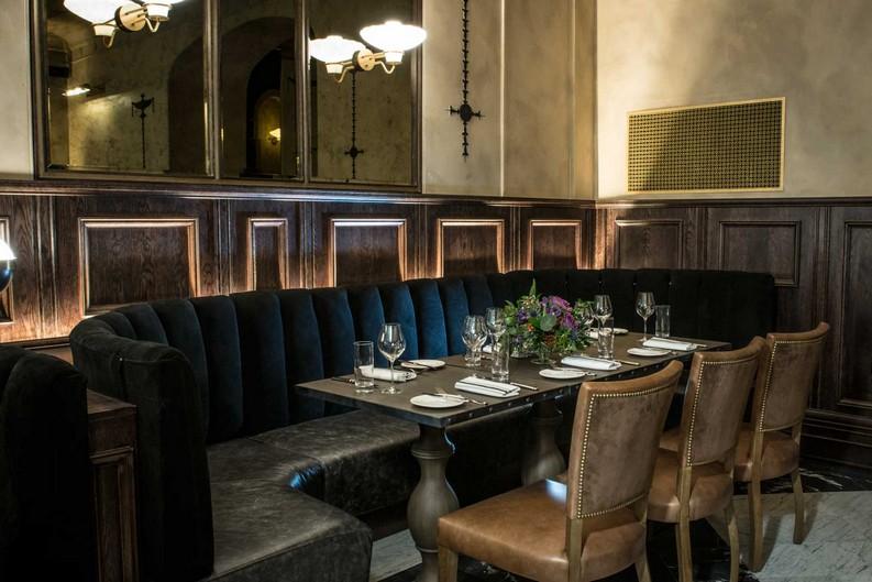 printingpressedinburgh-curved-banquette-night-1600 hospitality design Goddard Littlefair Wins Gold at 2016 Hospitality Design Awards PrintingPressEdinburgh curved banquette night 1600