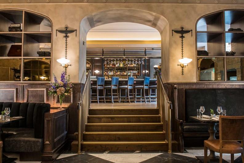 interior design ideas  hospitality design Goddard Littlefair Wins Gold at 2016 Hospitality Design Awards PrintingPressEdinburgh view up stairs to Bar 1600
