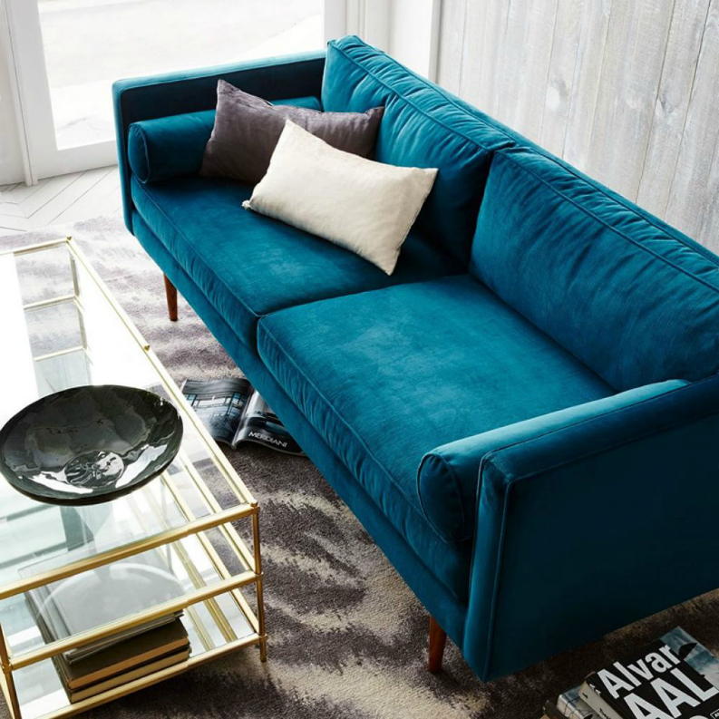 10 Sexy Velvet Modern Sofas Setting Trends for 2017 Velvet Modern Sofas 10 Sexy Velvet Modern Sofas Setting Trends for 2017 blue velvet couch in the living room with glass top coffee table