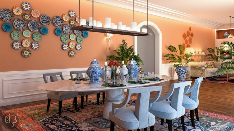 The Eclectic Interior Design Project by Boshrainteriors Studio | Featuring BRABBU interior design project The Eclectic Interior Design Project by Boshrainteriors Studio dining room by boshrainteriors