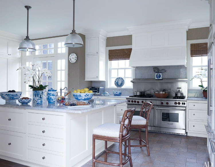 A Kitchen decorated with blue and white porcelain - Interior Designers interior designers Top 10 Interior Designers in New York kitchen cabinets off white cabinets with granite copper drawer off white cabinets with granite interior designers