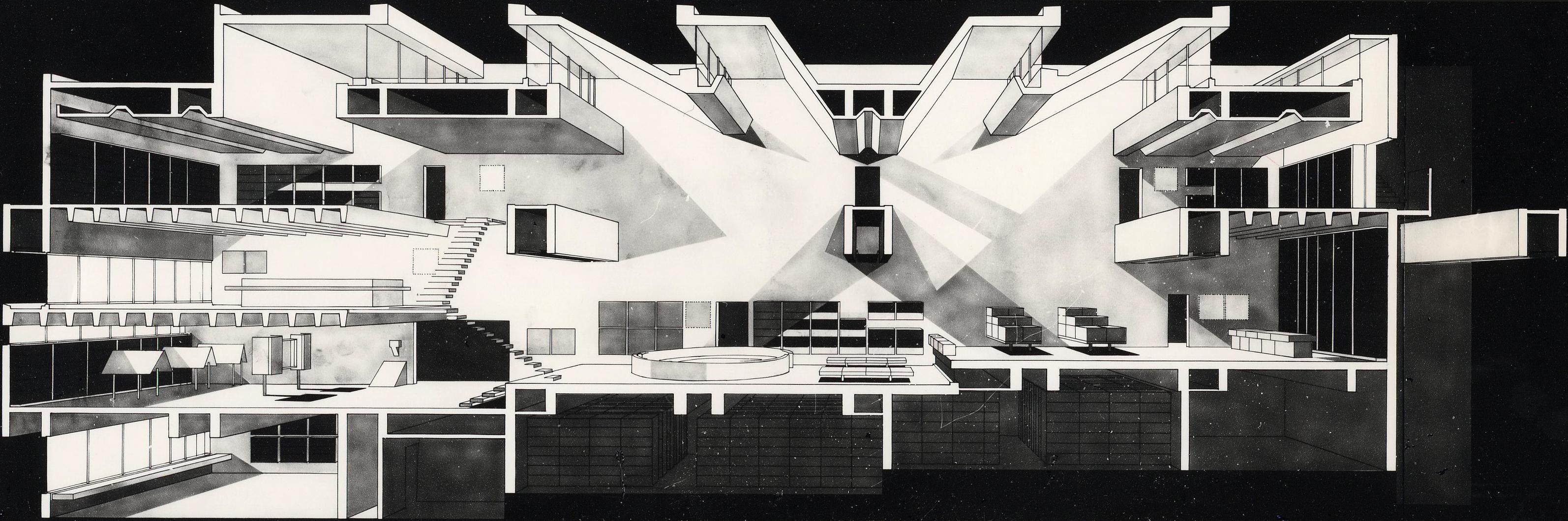 arata isozaki ARATA ISOZAKI – PRITZKER PRIZE 2019 11 Section perspective1 Oita Prefectural Library 1966
