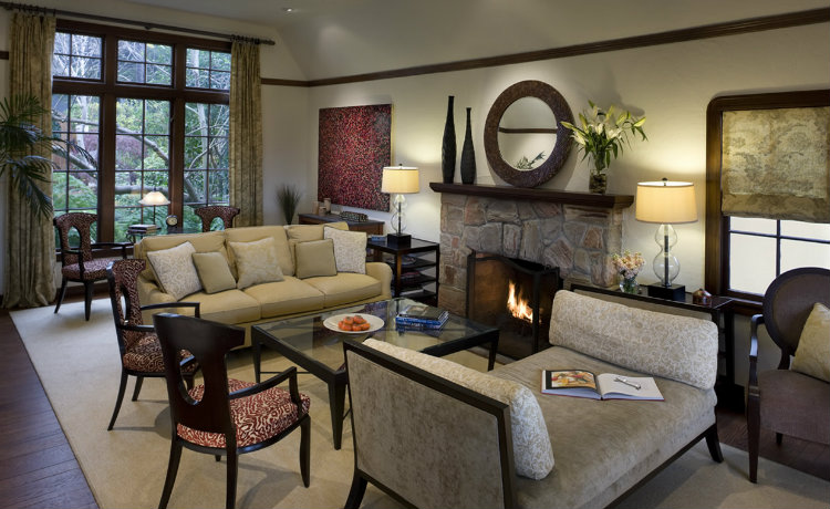 AND Interior Design - Hillside Traditional Home with a Flare for Modern Art