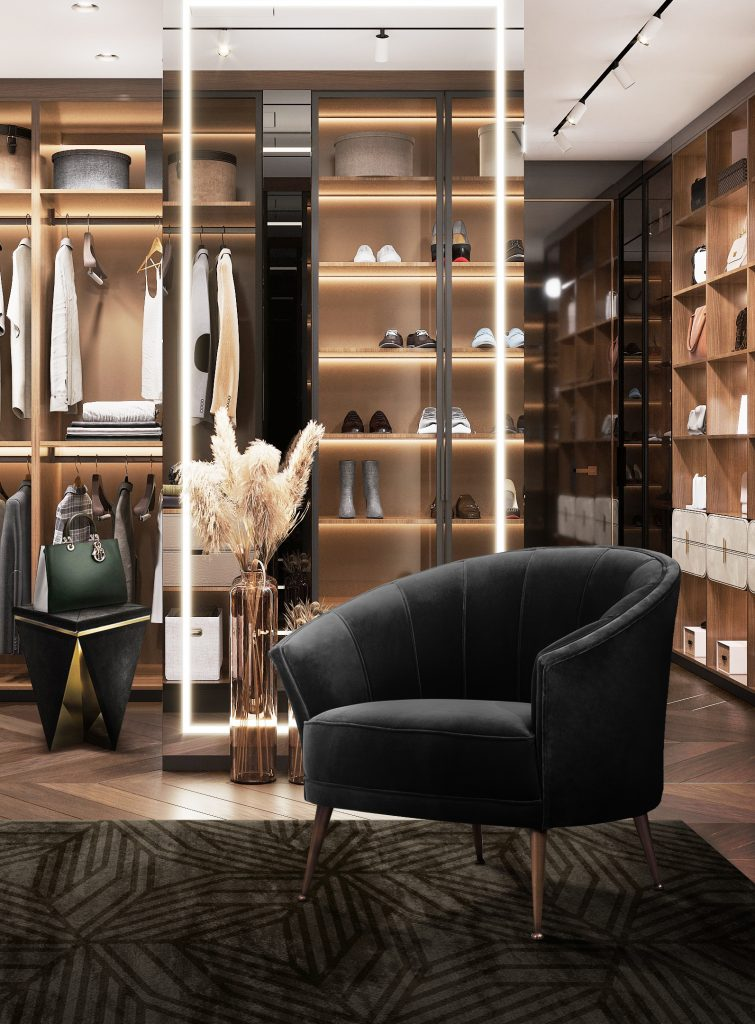 modern decor Room by Room Inspirations – Give Your Home a Modern Decor with BRABBU 7 Closet with black armchair 755x1024