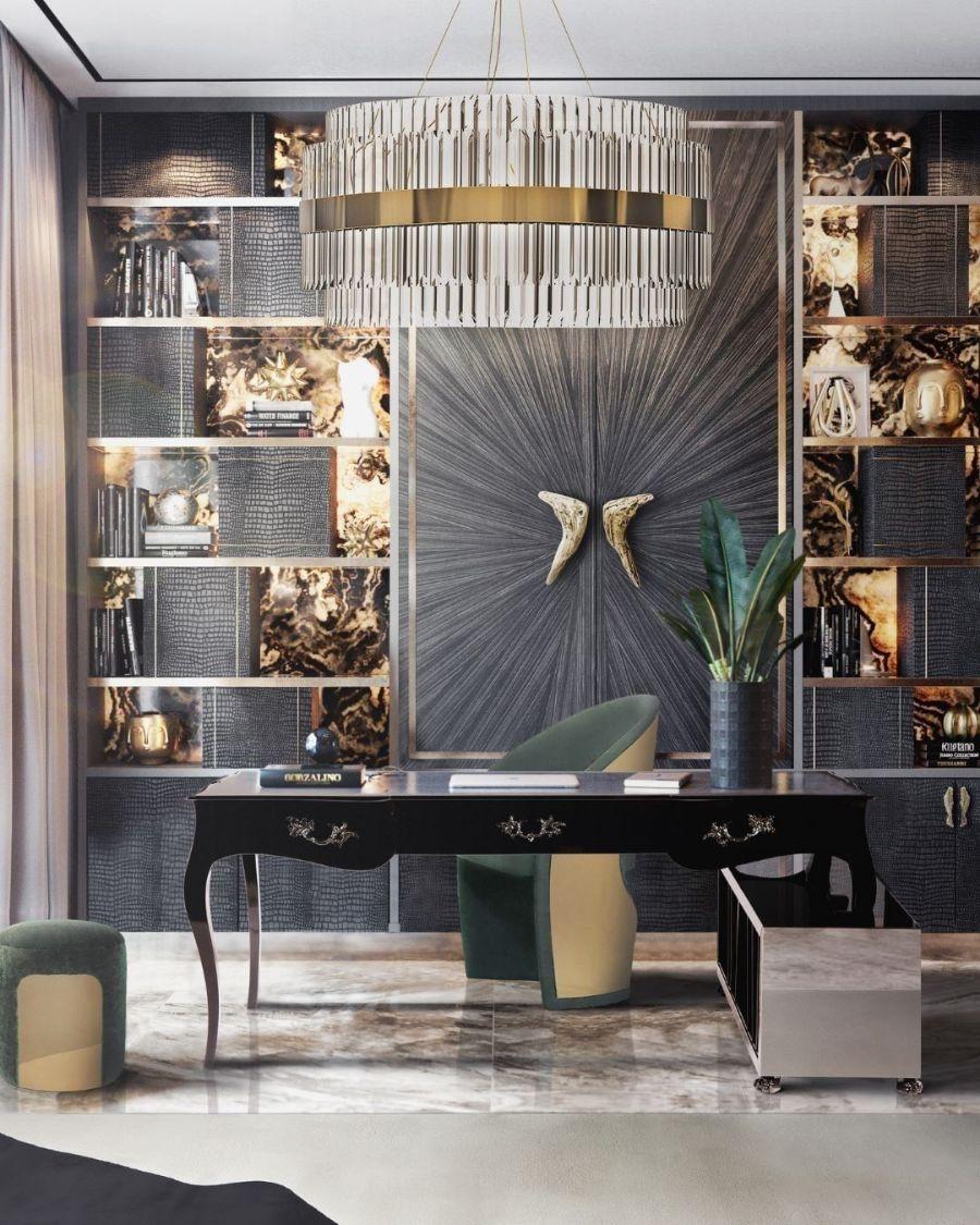 Modern Office Decor: Functional, Elegant, Fierce and Unique golden chandelier