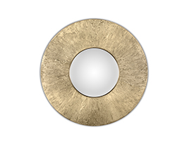 HULI | Matte Brass Round Mirror Contemporary Design by BRABBU