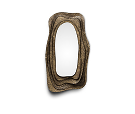KUMI | Hammered Aged Brass Mirror Contemporary Design by BRABBU