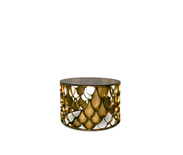Koi is a modern round coffee table with a bronze glass top and a brushed aged brass base.