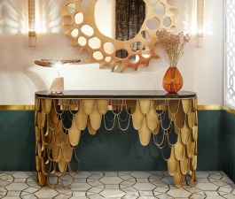 This hotel interior design in Morocco hides many stories from around the world. Starting with its pieces. KOI Console Table steals the attention with its unique brass structure. On top of it, CALLA Ta