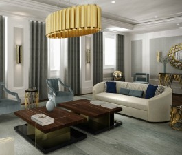 Exquisite living room furniture set with a neutral colour palette and golden accents. WALES Sofas were the starting point of this decor. Two LALLAN Center Tables stand gracefully next to each other, r