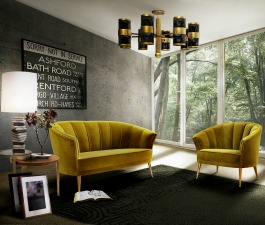 Contemporary lime green sofa and armchair creating a flawless living room. A velvet 2 seat sofa and armchair, a rectangular black rug, a black and gold ceiling lamp, a brass side table and a modern ta
